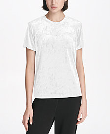 DKNY Sport Crushed Velvet Logo T-Shirt, Created for Macy's