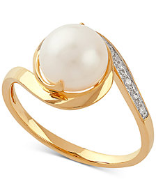 Cultured Freshwater Pearl (8mm) & Diamond Accent Ring in 10k Gold