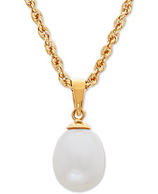 "Cultured Freshwater Pearl (8 x 9mm) 18"" Pendant Necklace in 10k Gold"