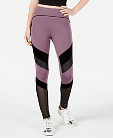 Material Girl Active Juniors' Mixed-Media Leggings, Created for Macy's