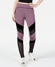 Material Girl Active Juniors' Mixed-Media Leggings, Created for Macy's