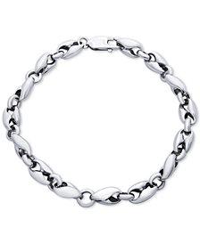Men's Polished Curved Link Bracelet in Sterling Silver