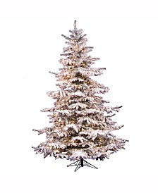 Vickerman 8.5 ft Flocked Sierra Fir Artificial Christmas Tree With 850 Clear Lights