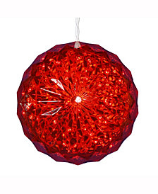 "Vickerman 6"" Crystal Ball Christmas Ornament With 30 Red Led Lights"