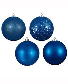 "3"" Blue 4-Finish Ball Christmas Ornament, 32 Per Box"