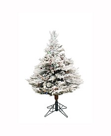 3.5 ft Flocked Alberta Artificial Christmas Tree With 150 Multi-Colored Led Lights