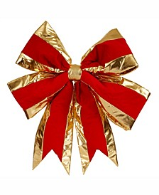 "24"" Red With Gold Trim Christmas Bow"
