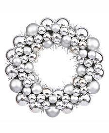 "Vickerman 12"" Silver Shiny/Matte Ball Wreath"