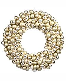 "Vickerman 36"" Gold Shiny/Matte Ball Wreath"