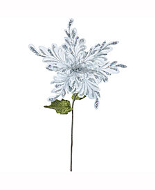 "Vickerman 15"" Silver Velvet Poinsettia Artificial Christmas Pick, 3 Per Bag"