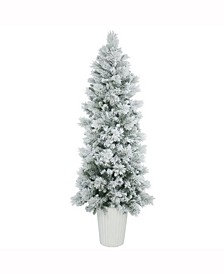 7 ft Potted Flocked Castle Pine Artificial Christmas Tree Unlit