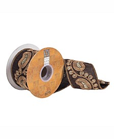 """2.5"""" Chocolate Dupion With Gold Sequin Paisley Christmas Ribbon"""