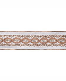 """2.5"""" Ivory Dupion With Gold Sequin Floral Christmas Ribbon"""