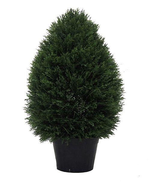"""Vickerman 24"""" High X 15"""" Wide Cedar Teardrop Shaped Bush Is Uv Resistant"""