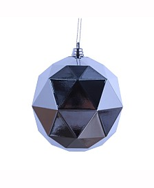 """6"""" Silver Geometric Ball Ornament Featuring A Shiny Finish"""