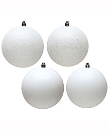 "Vickerman 4.75"" White 4-Finish Ball Christmas Ornament"
