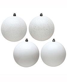 "Vickerman 6"" White 4-Finish Ball Christmas Ornament, 4 Per Box"