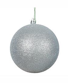 "Vickerman 10"" Silver Glitter Ball Christmas Ornament"