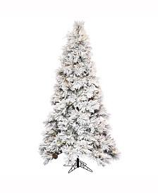 "7.5' X 49"" Flocked Atka Slim Artificial Christmas Tree"