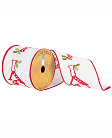 """4"""" X 10Yd White Ribbon With Red Embroidered Joy And Holly Berry With Red Edge"""