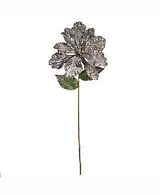 "20"" Silver Mesh Faux Pearl Amaryllis 8"" Flower Head, Set of 3"