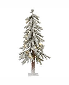 2 ft Flocked Alpine Artificial Christmas Tree With 50 Warm White Led Lights