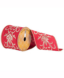 "4"" X 10Yd Red Ribbon With Gold Embroidered Flower Pattern"