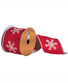 Red Ribbon With Tan Embroidered Snowflakes With Button Center And A Tan Egde