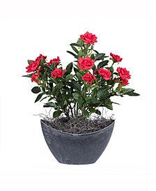 Vickerman 13.5 inch Artificial Red Mini Diamond Rose Bush