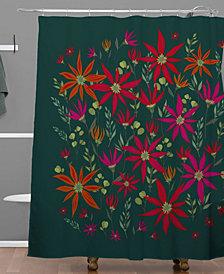 Deny Designs Iveta Abolina Poinsettia Emerald Shower Curtain