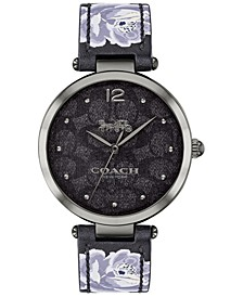 Women's Park Black Floral Print Leather Strap Watch 34mm