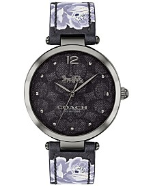 COACH Women's Park Black Floral Print Leather Strap Watch 34mm