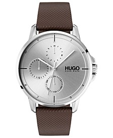 Men's #Focus Brown Leather Strap Watch 42mm