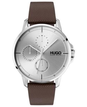 Hugo Men's #Focus Brown Leather Strap Watch 42mm