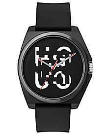 HUGO Unisex #Play Black Rubber Strap Watch 40mm
