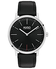 HUGO Men's #Exist Ultra Slim Black Leather Strap Watch 40mm