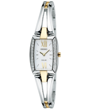 Seiko Watch, Women's Solar Two Tone Stainless Steel Bangle Bracelet 18mm SUP084