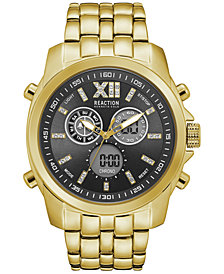 Kenneth Cole Reaction Men's Analog-Digital Gold-Tone Bracelet 47mm