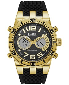 Kenneth Cole Reaction Men's Analog-Digital Chronograph Black Silicone Strap Watch 47mm