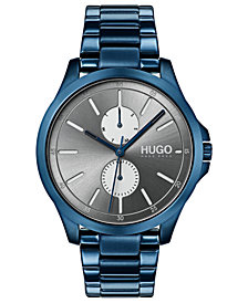 HUGO Men's #Jump Blue Stainless Steel Bracelet Watch 41mm
