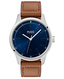 HUGO Men's #Dare Brown Leather Strap Watch 42mm