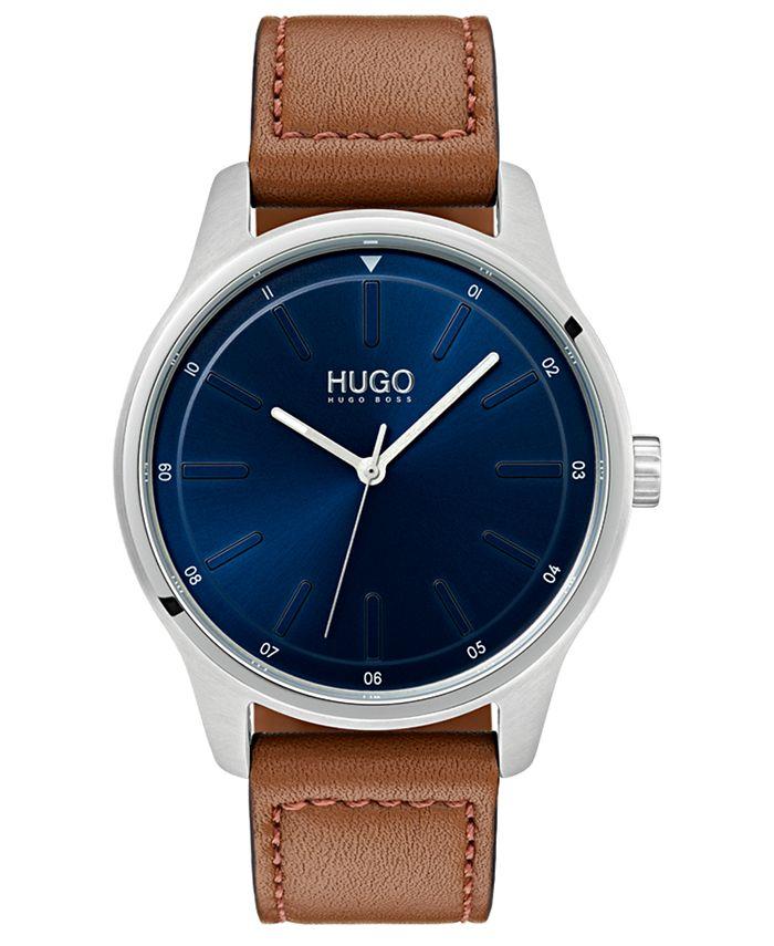 HUGO - Men's #Dare Brown Leather Strap Watch 42mm