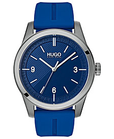 HUGO Men's #Create Blue Rubber Strap Watch 40mm