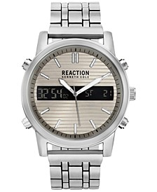 Men's Analog-Digital Silver-Tone Bracelet Watch 44mm