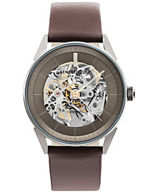 Kenneth Cole New York Men's Automatic Brown Leather Strap Watch 42mm