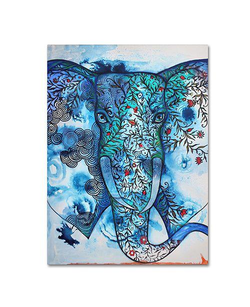"Trademark Global Oxana Ziaka 'Blue Elephant' Canvas Art - 19"" x 14"" x 2"""