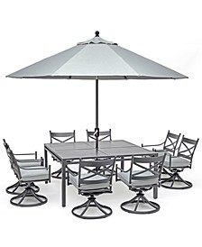 "Montclaire Outdoor Aluminum 9-Pc. Dining Set (64"" X 64"" Table & 8 Swivel Chairs) With Sunbrella® Cushions, Created for Macy's"