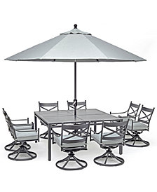 "Montclaire Outdoor Aluminum 9-Pc. Dining Set (62"" X 62"" Table & 8 Swivel Chairs) With Sunbrella® Cushions, Created For Macy's"