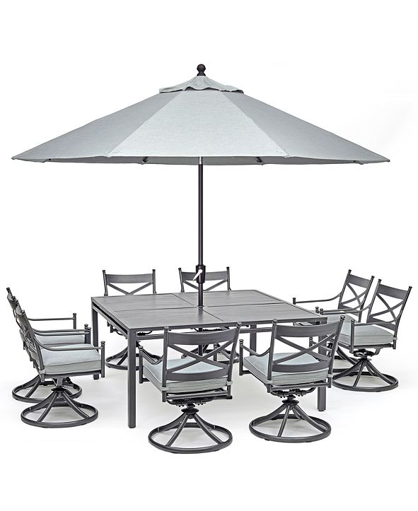 """Furniture Montclaire Outdoor Aluminum 9-Pc. Dining Set (64"""" X 64"""" Table & 8 Swivel Chairs) With Sunbrella® Cushions, Created for Macy's"""