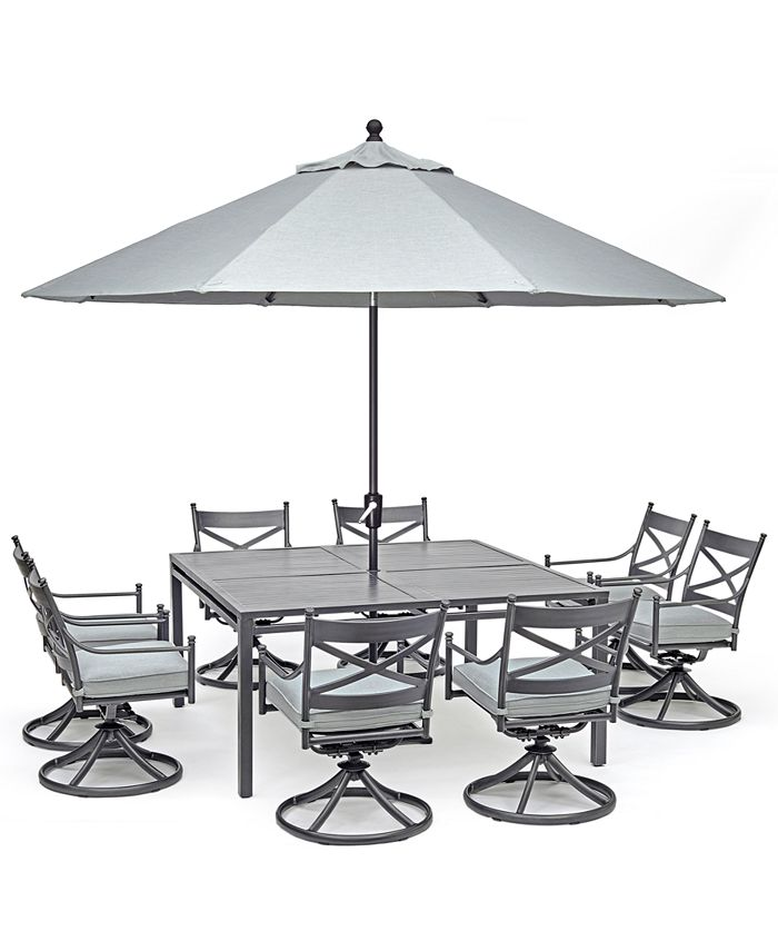 """Furniture - X-Back Outdoor Aluminum 9-Pc. Dining Set (62"""" X 62"""" Table & 8 Swivel Chairs) With Sunbrella® Cushions"""